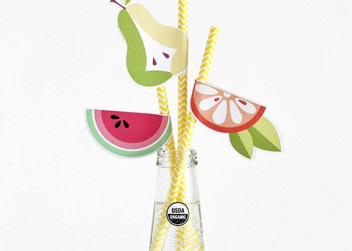 Printable DIY Fruit Straws