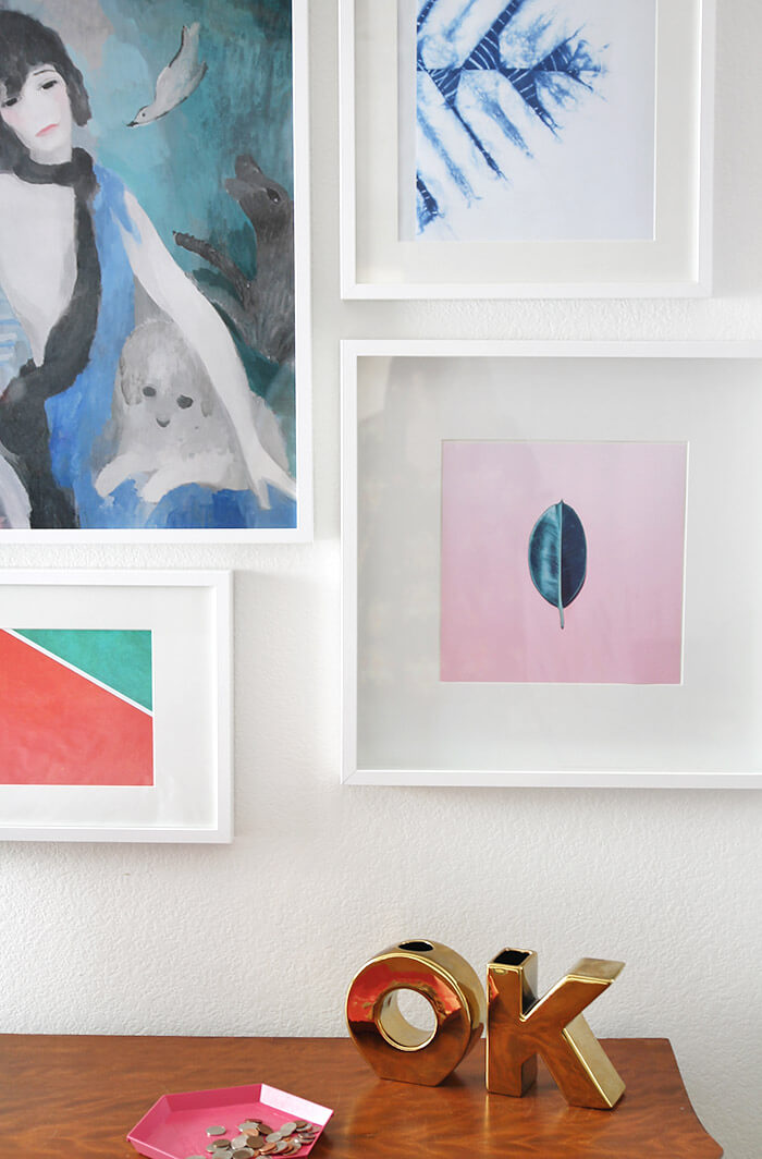 colorful modern bedroom gallery wall