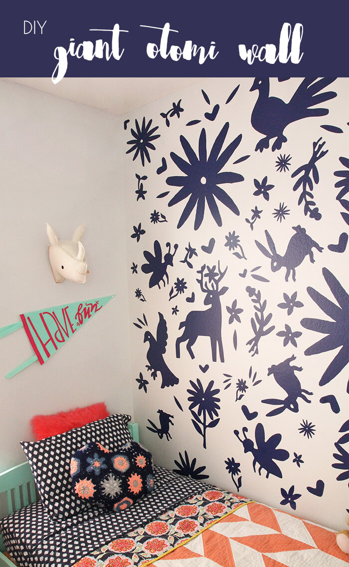 Awesome Otomi accent wall using DIY vinyl decals - so cool!