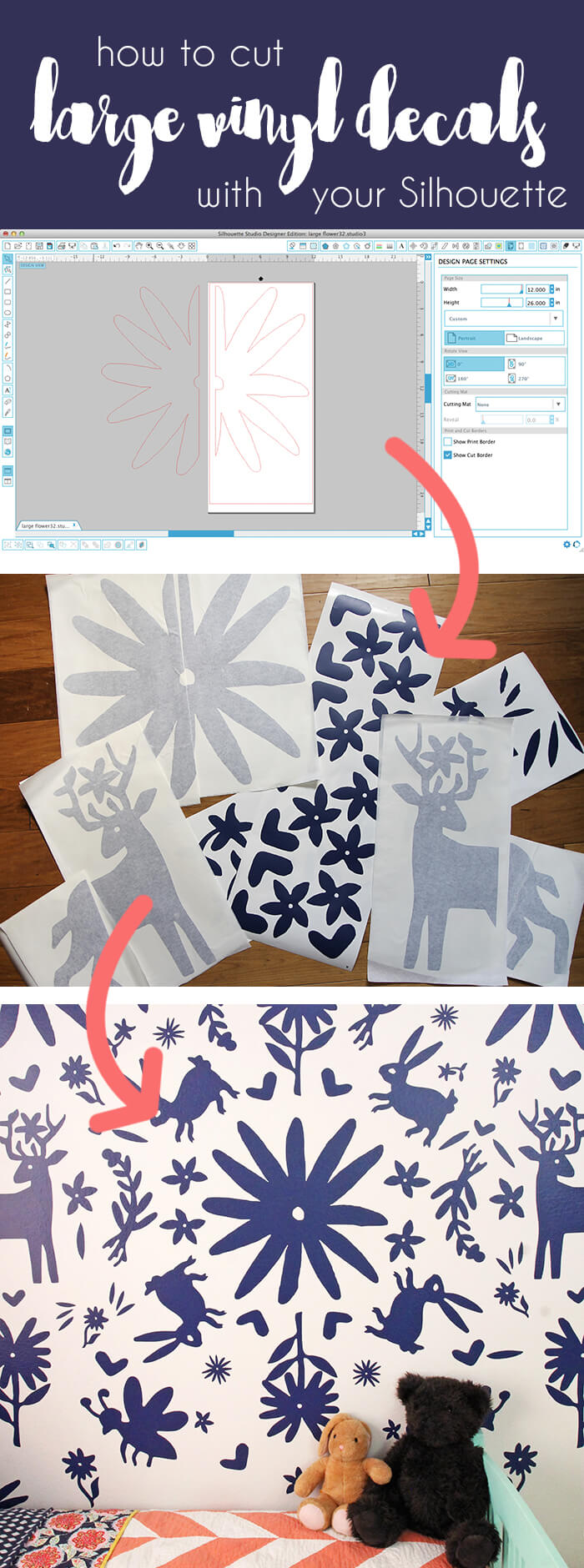 how to cut extra large vinyl decals with your Silhouette - cut settings plus how to piece them together on your wall