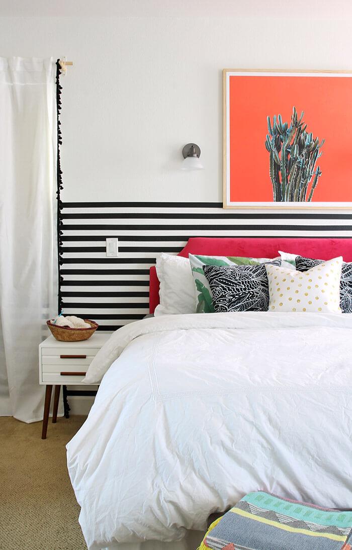 modern colorful bedroom - cool cactus print