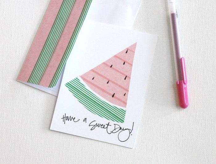 washi tape watermelon cards