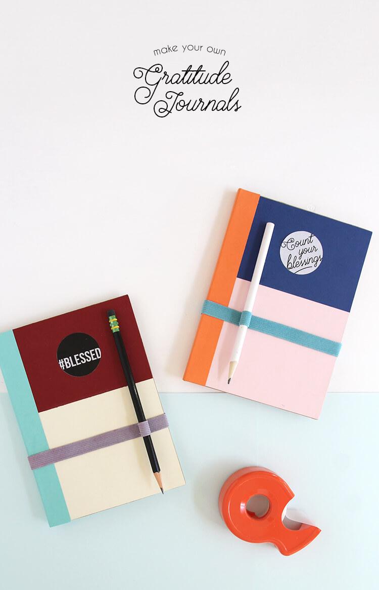 DIY gratitude journal - modern style plus free printable labels