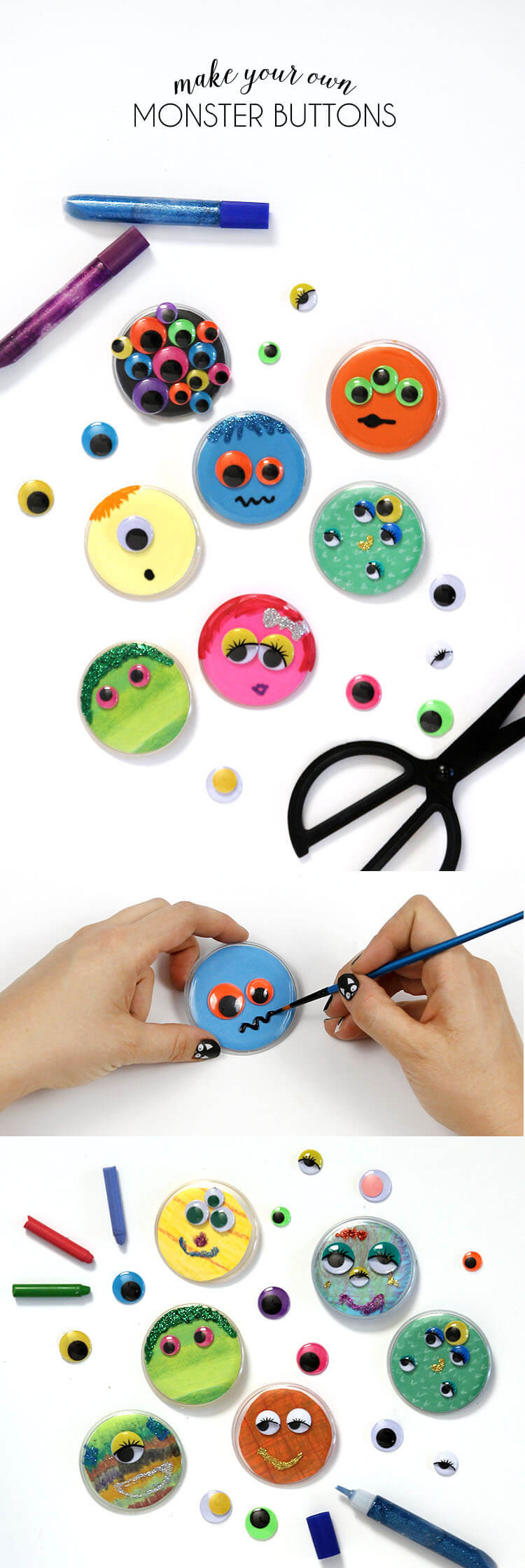 Monster Buttons - such a cute kids Halloween craft idea