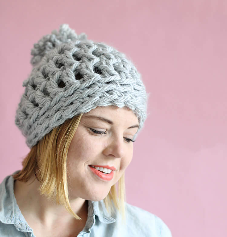 6307b1df19aee Easy Chunky Crochet Beanie - a 30 minute hat! Free pattern from Persia Lou