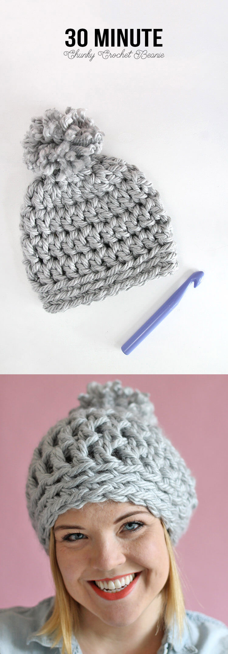 Easy Chunky Crochet Beanie - a 30 minute hat! Free pattern from Persia Lou