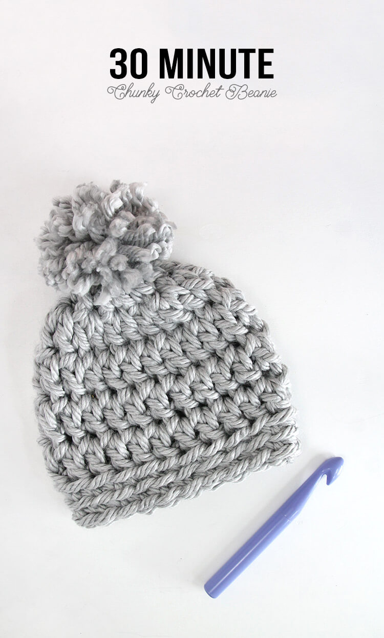 5b30ff50531 Easy Chunky Crochet Beanie - a 30 minute hat! Free pattern from Persia Lou