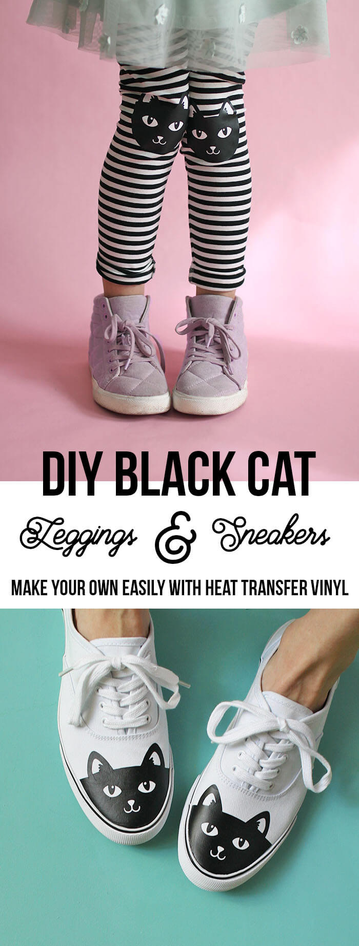 make your own black cat leggings and sneakers easily with heat transfer vinyl and your silhouette - free cut file and instructions on how to make your own - DIY cat shoes, DIY cat knee leggings