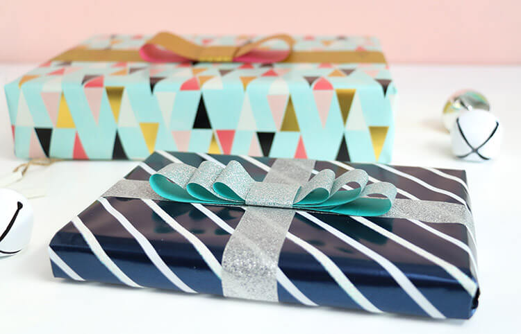 DIY Tape Bows - Glittery Gift Wrap Idea