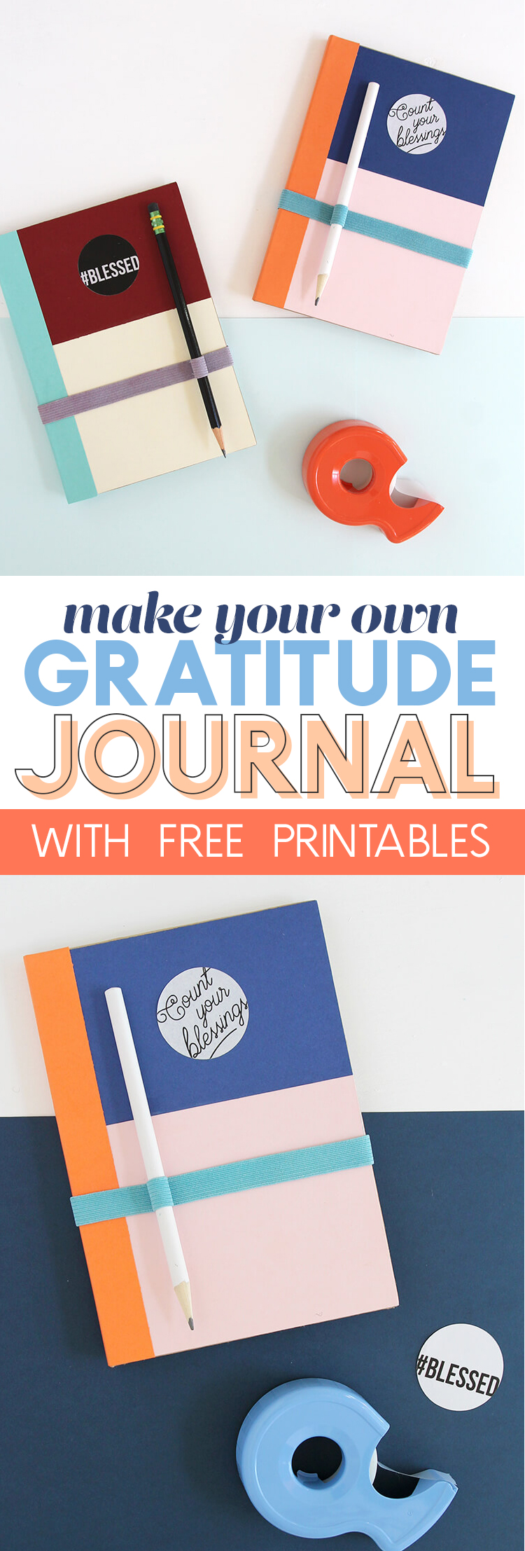 DIY Gratitude Journal - Learn how to make your own colorful gratitude journal with free printables