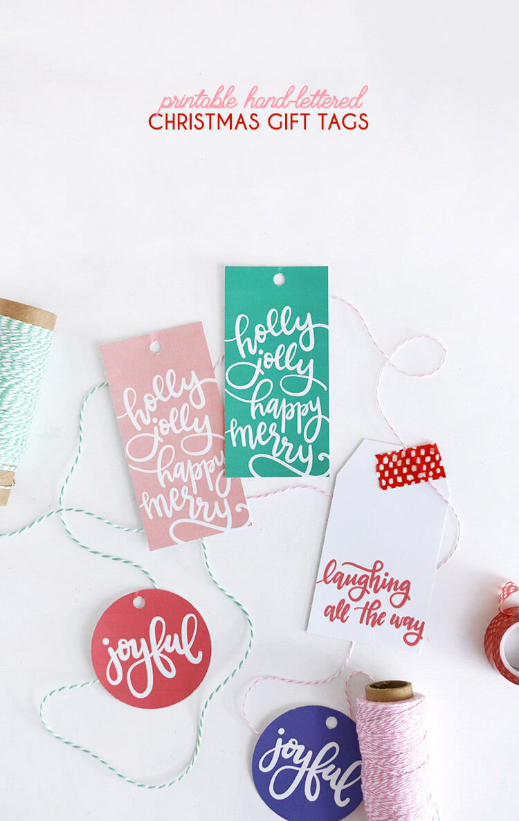 free hand lettered printable christmas gift tags - these are so cute