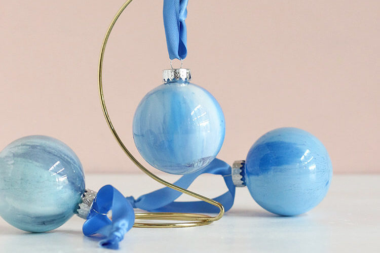 How to Make DIY Marbled Ornaments