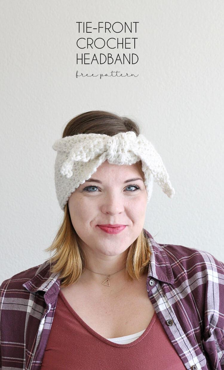 Tie-Front Crochet Headband Pattern - Persia Lou
