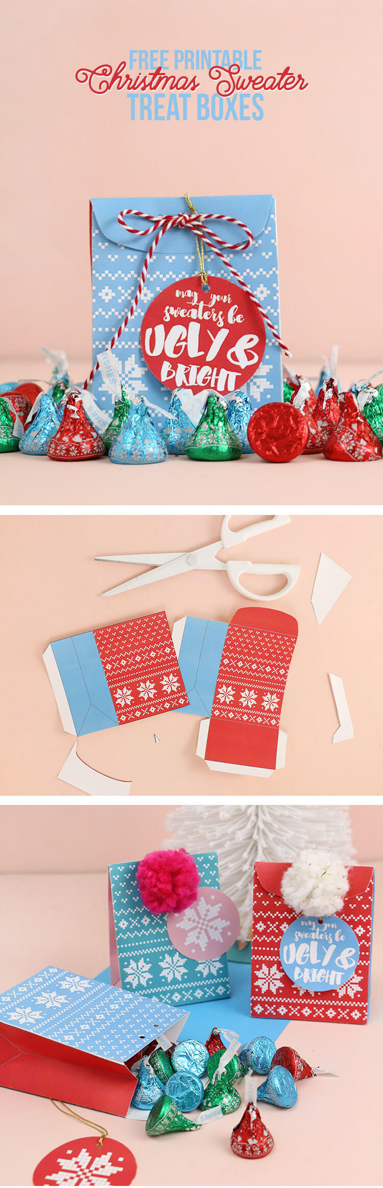 Free Printable Christmas Sweater Treat Box - just print and fill with treats! Perfect party favor for an Ugly Sweater party