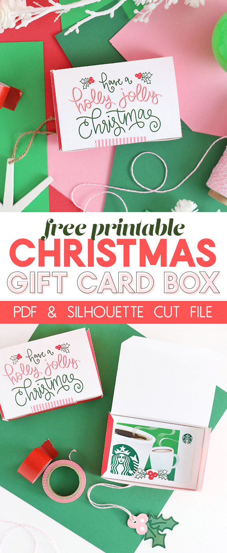 make a DIY gift card box with this free printable - perfect for Christmas gifts