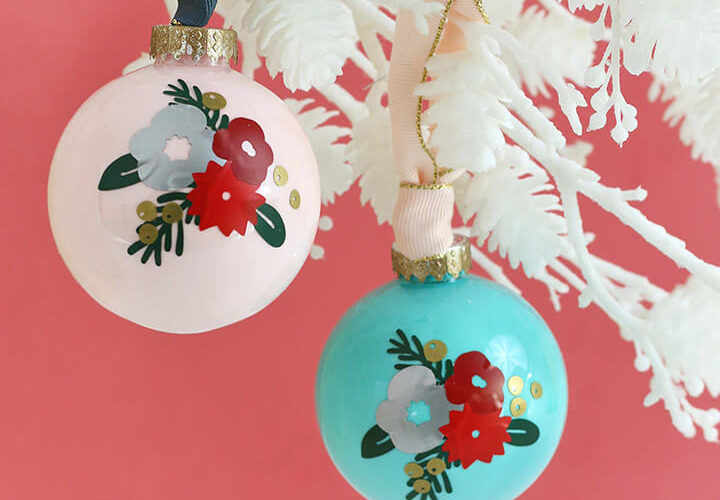DIY Winter Floral Ornament with Vinyl