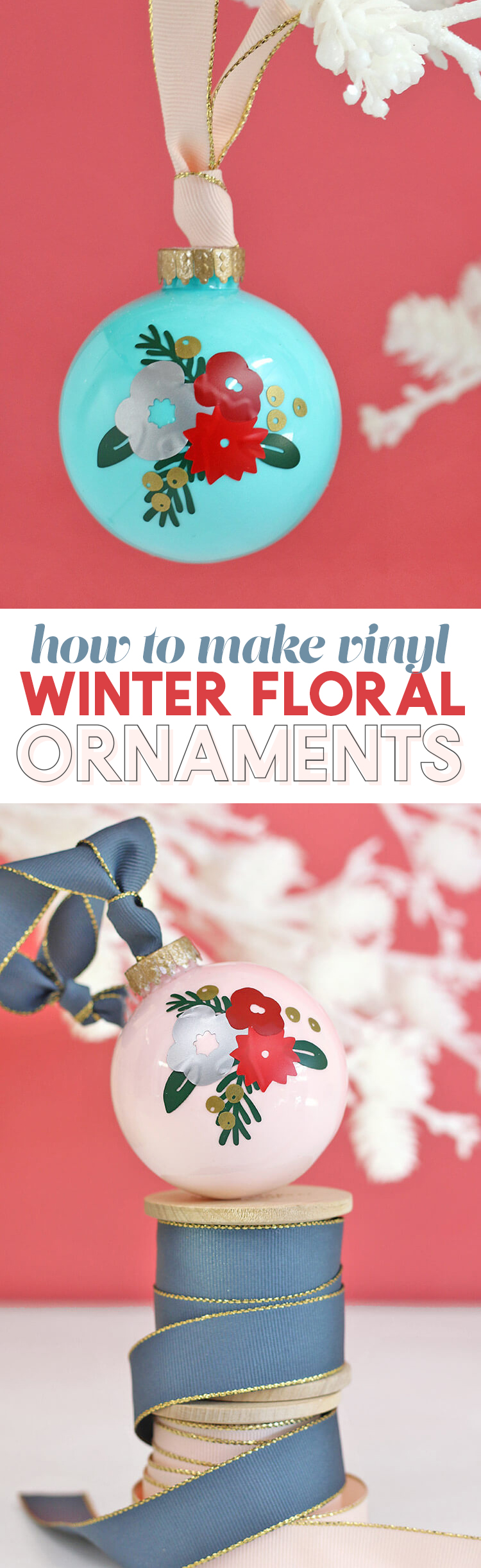 diy christmas ornaments - pretty winter floral design made with craft vinyl