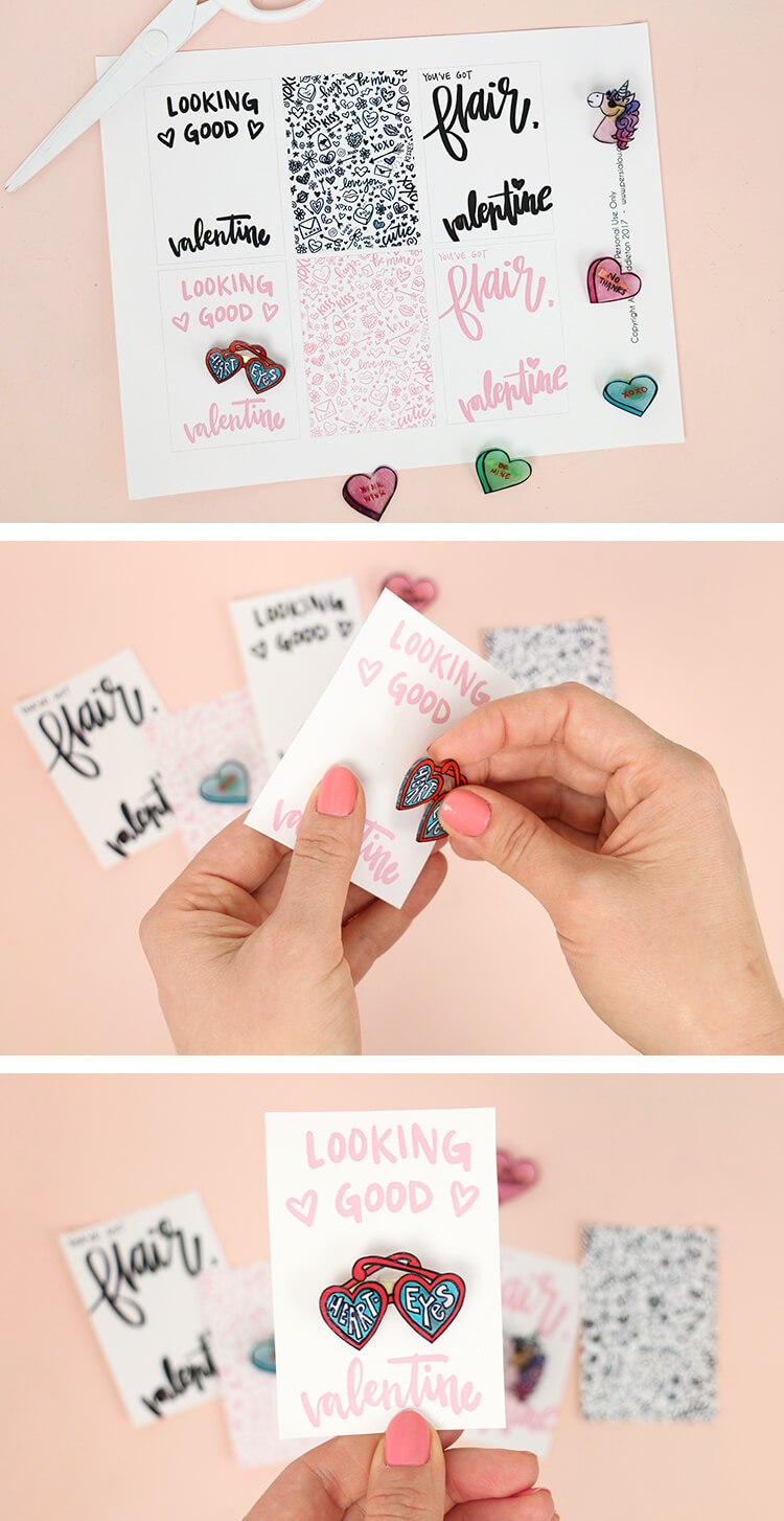 how to make pins valentines - free printables enamel pin valentine cards