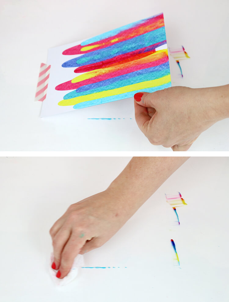 DIY art project idea - how to make paint scrape art