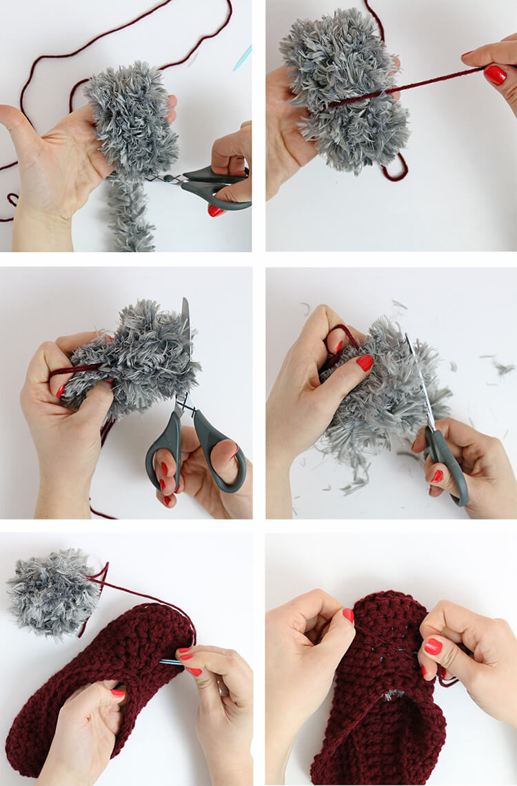 how to make fur pom-poms - free crochet slippers pattern