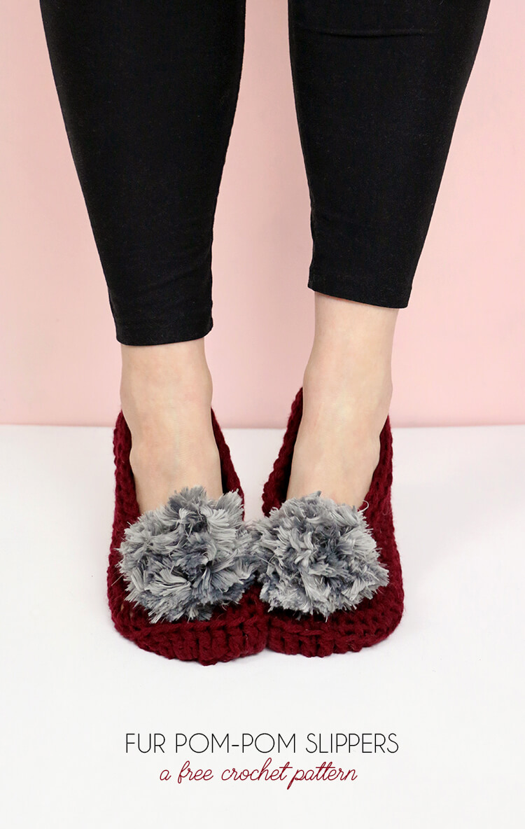 How to Crochet Slippers - Simple Fur Pom-Pom Slippers Pattern ...