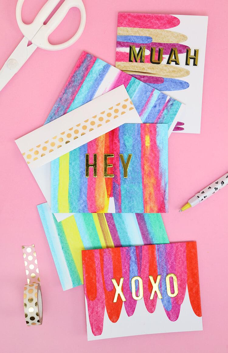 Paint Scrape Notecards Diy Art Project Idea Persia Lou