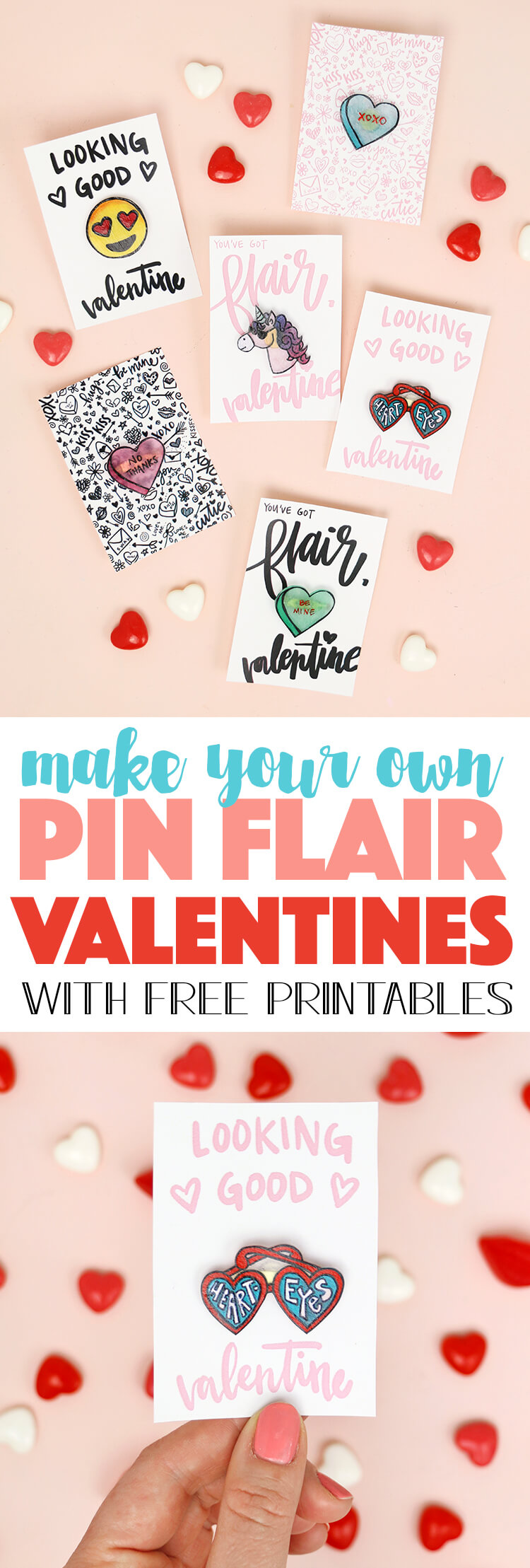 how to make pins! DIY method for making cute enamel style pins - they make the cutest valentines too! (Free printable pin valentines!)