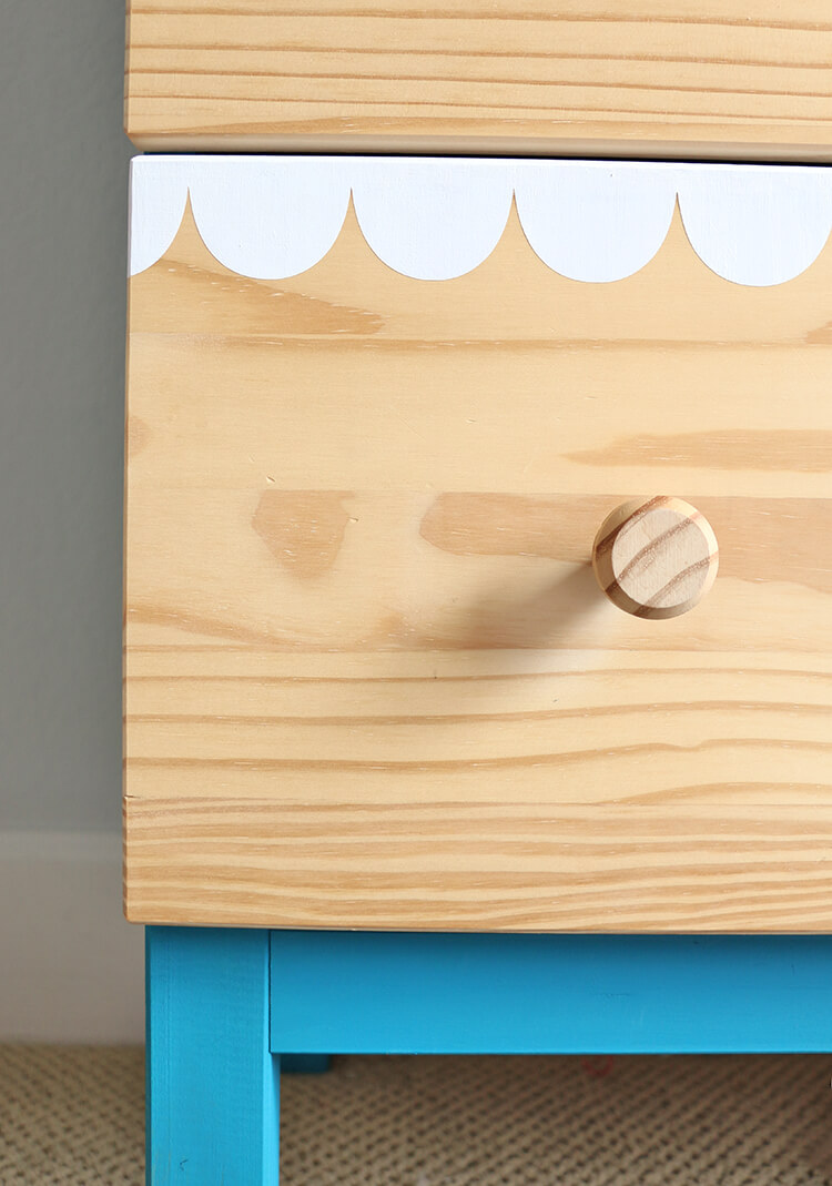 DIY scalloped dresser detail