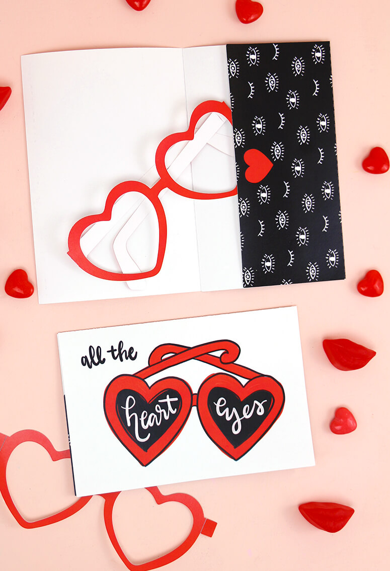 printable valentine cards - with printable heart glasses! super cute last-minute valentine idea