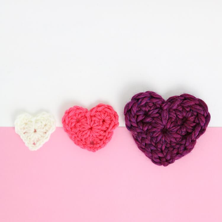 how to crochet hearts - free crochet heart pattern