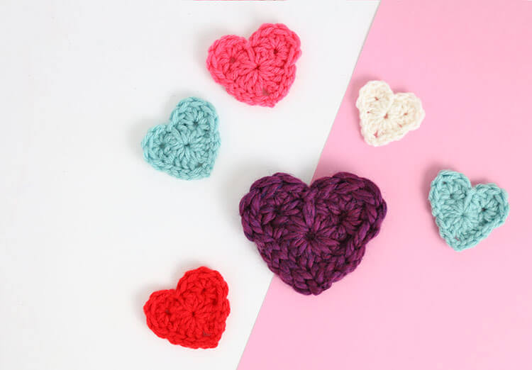 how to crochet hearts - free crochet heart pattern