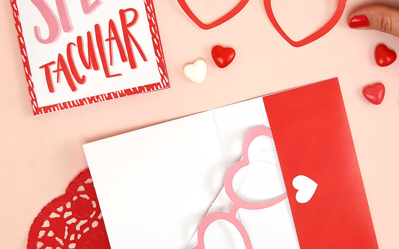 Free Printable Valentine Cards with Heart Glasses