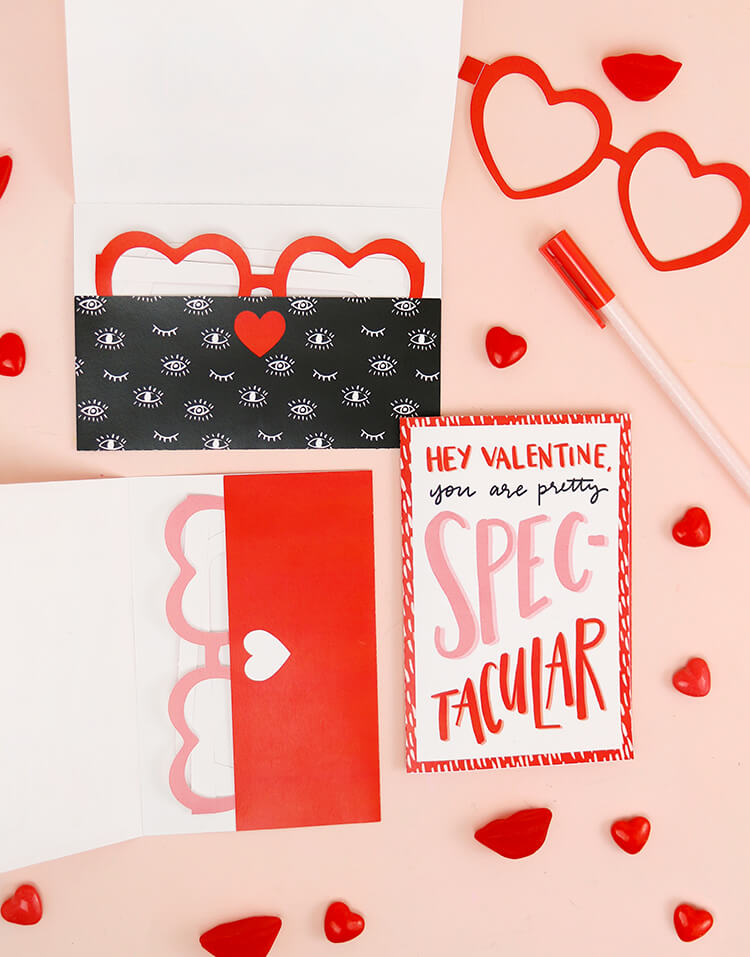 printable heart shaped glasses valentines - so cute! Love these free printable valentines for a last-minute card and gift for your sweetheart or galentine