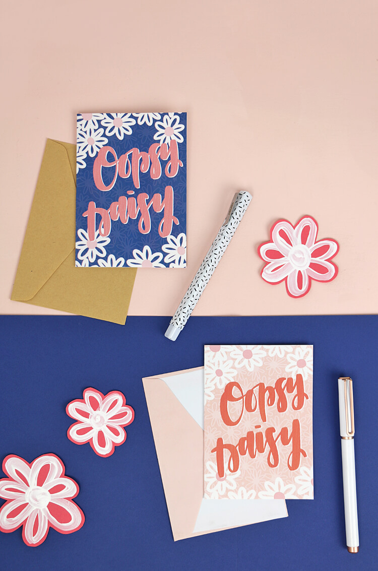 free hand lettered spring printables - oopsy daisy - cute printable notecards to say I'm sorry