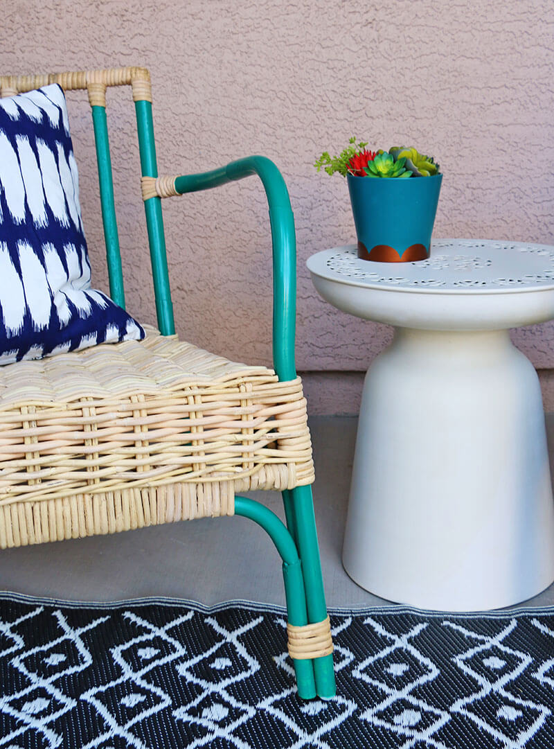 simple patio chair upgrade - painted rattan chair