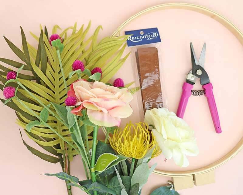 DIY Modern Spring Wreath supplies