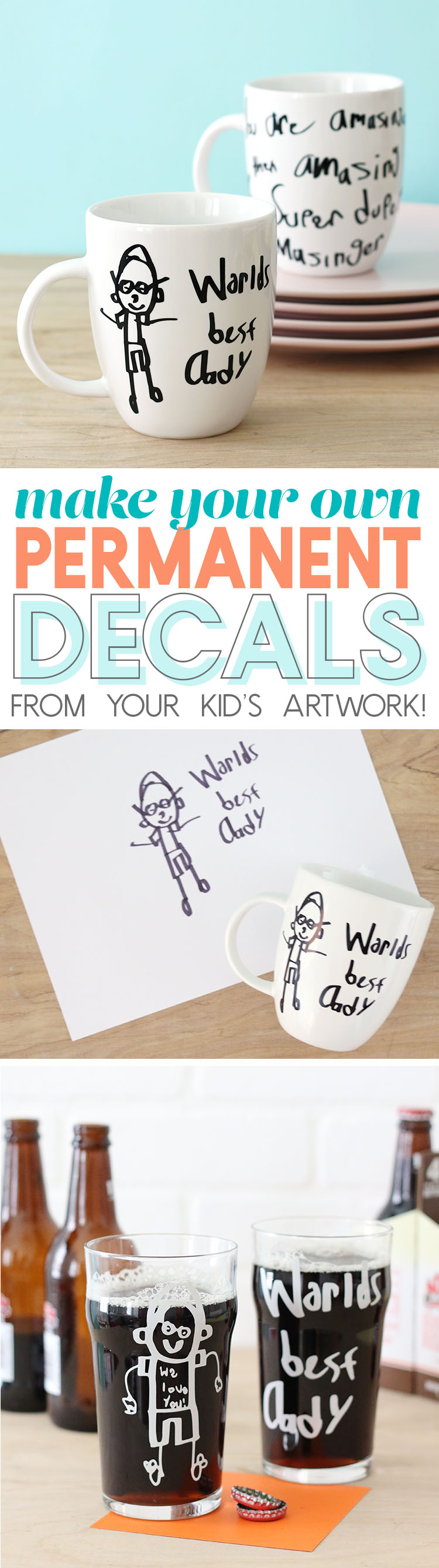 DIY Father's Day Gift Idea - turn your child's artwork into permanent designs on mugs or cups