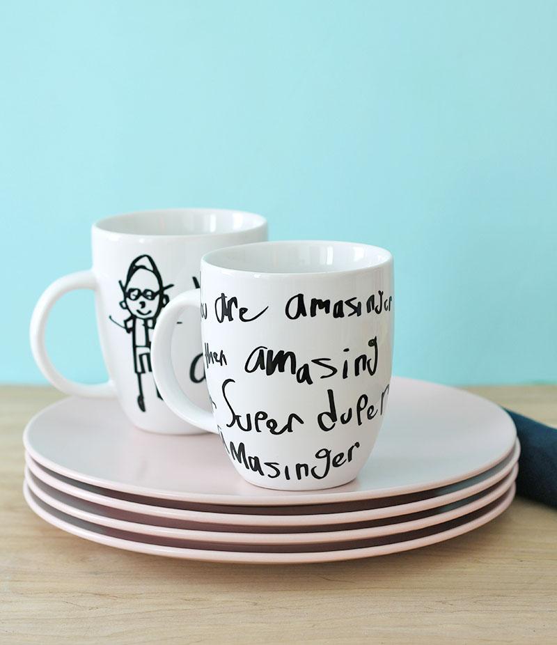 DIY Father's Day Gift Idea: Custom Kid's Artwork Mug
