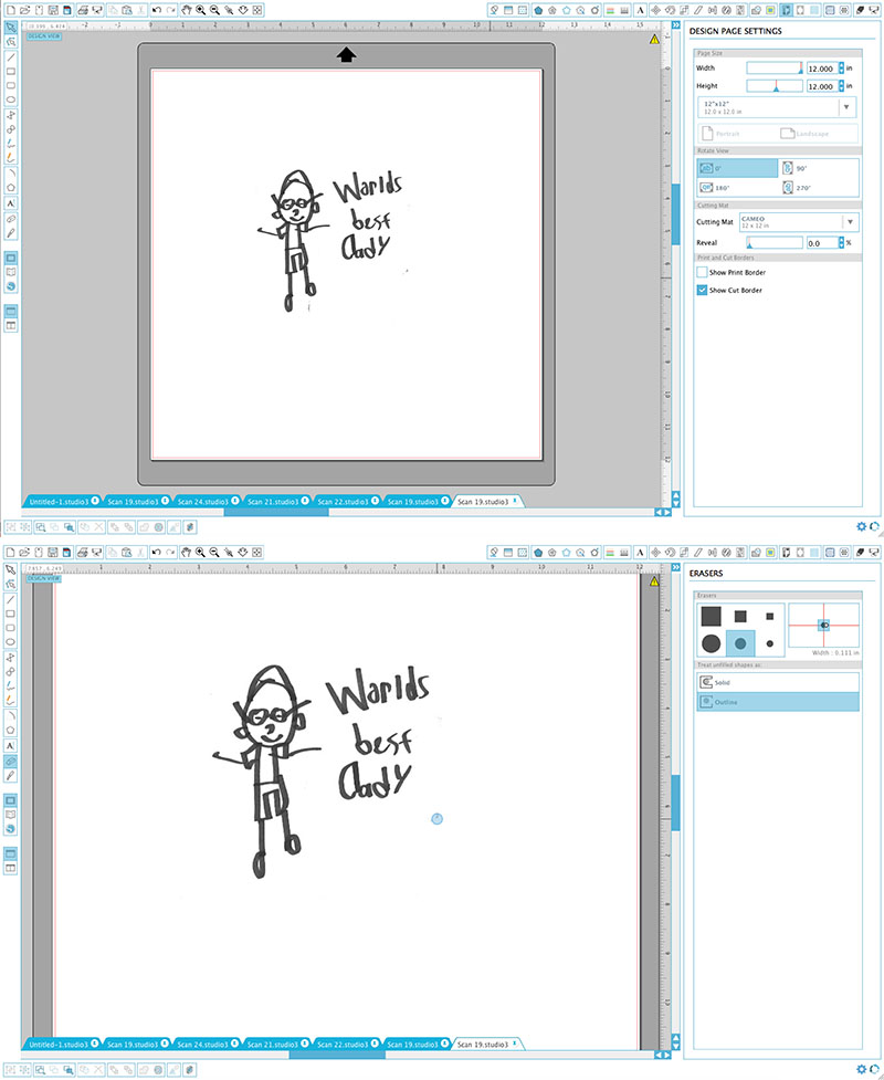 how to trace child's drawing in silhouette studio software
