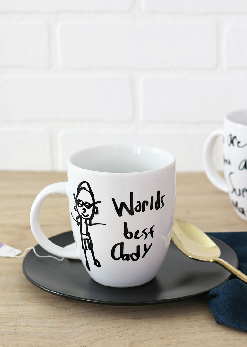 learn how to make custom mugs and cups for dad this father's day using your child's art or handwriting - DIY Father's Day Gift
