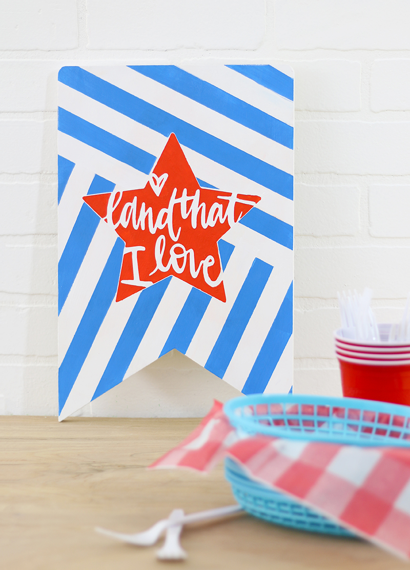 fourth of july banner sign - free patriotic cut files