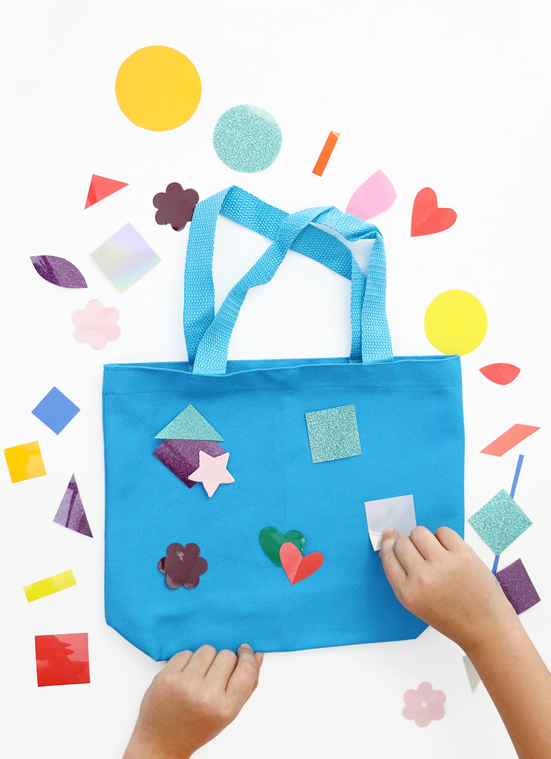 fun kids craft idea - tote bag craft - no mess and no special tools required
