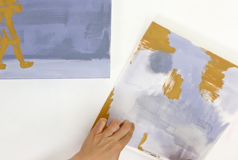 clean off on side painting - acrylic painting technique - paint two paintings at once