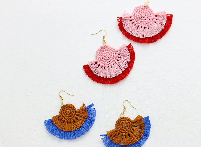Diy Fringe Statement Earrings Crochet Earrings Pattern Persia Lou