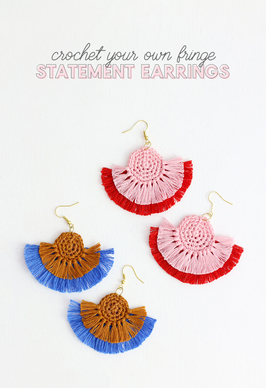 Diy fringe statement earrings crochet earrings pattern persia lou crochet earrings colorful statement earrings are easy to make with this free crochet pattern dt1010fo