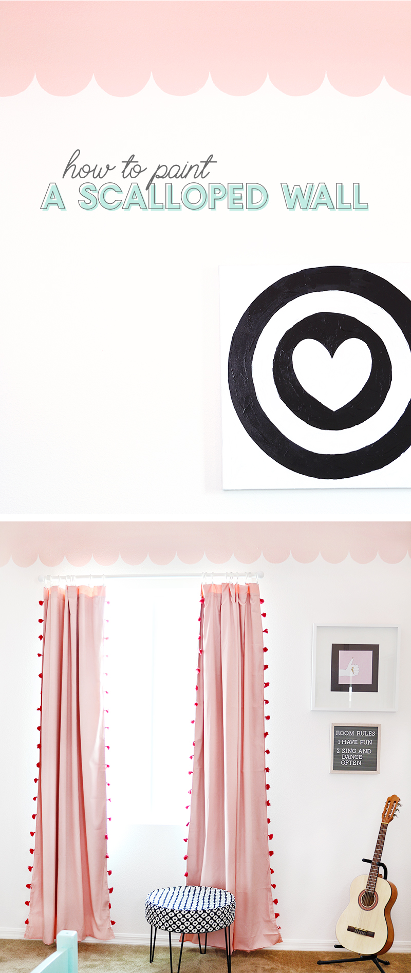 how to paint a scalloped wall treatment - adorable girls room with scalloped wall