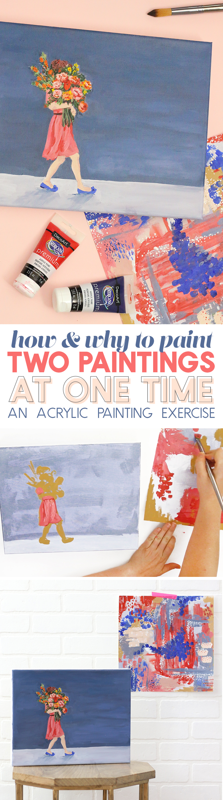 how to paint two paintings at once - diy acrylic painting technique
