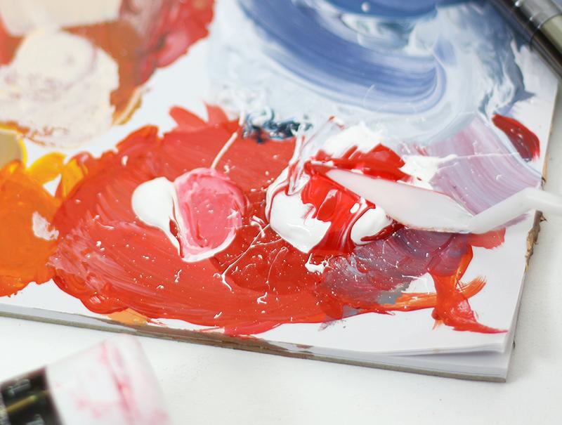 mix paint - acrylic painting technique