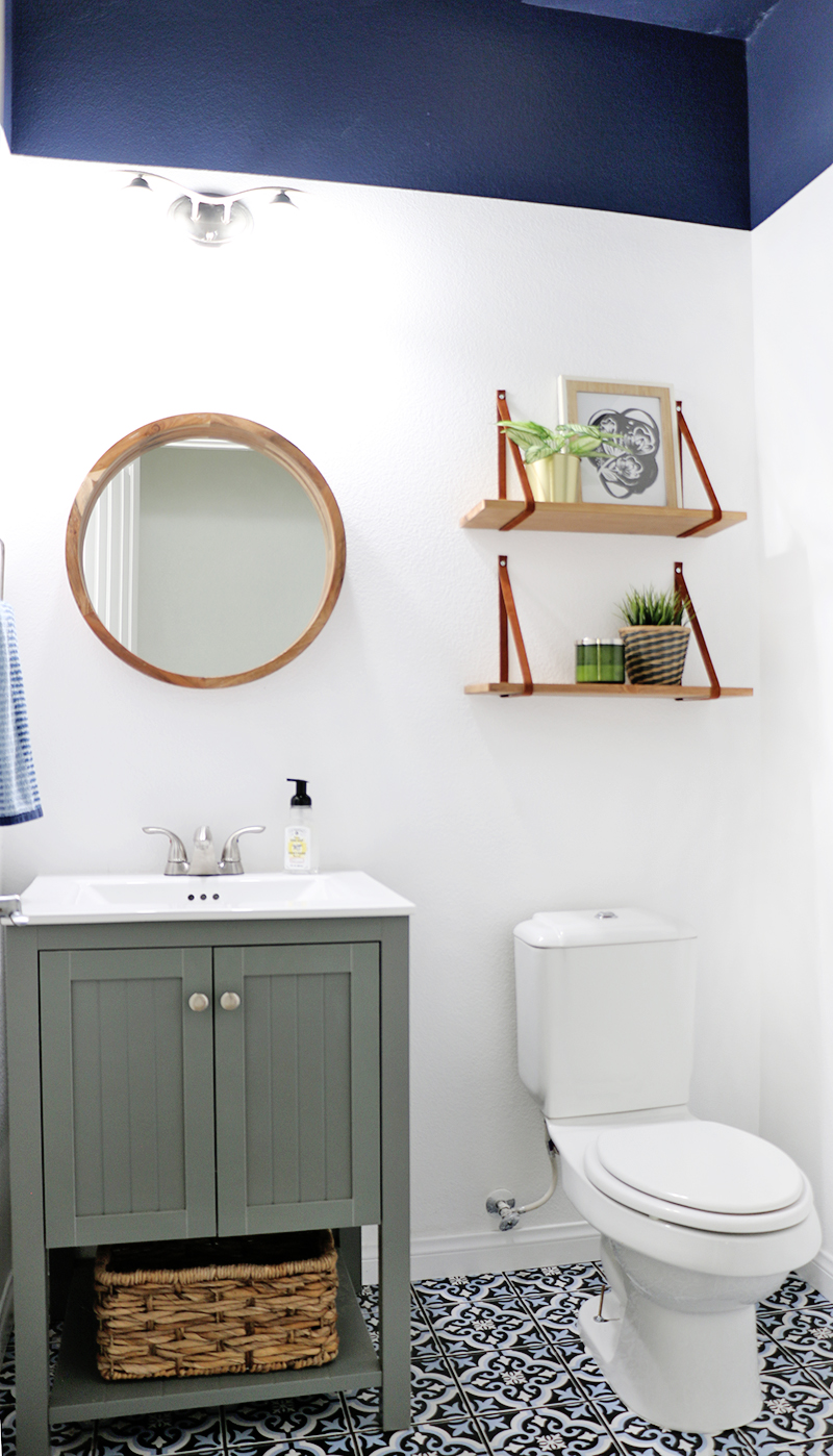 Powder Room Update How To Get Perfect Paint Lines Even On Orange L Walls