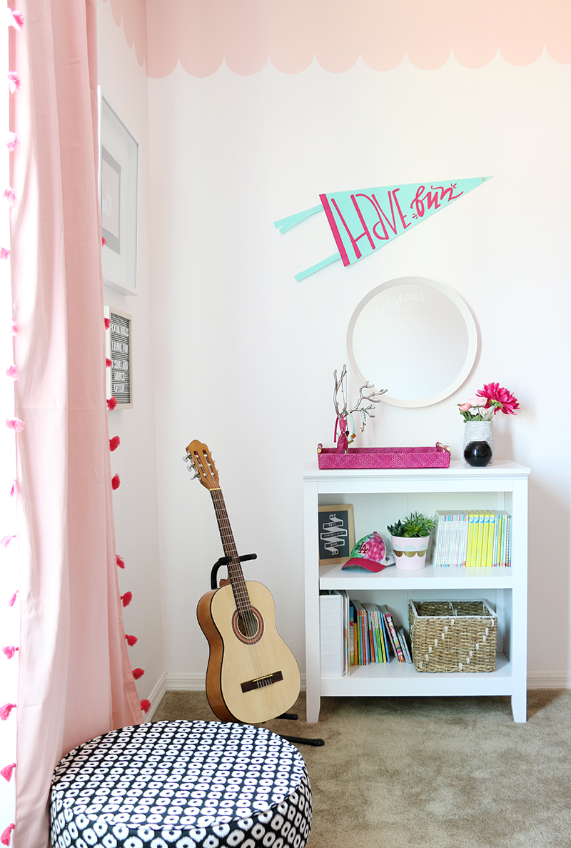 Sweet And Modern Girls Room Makeover With Diy Scalloped